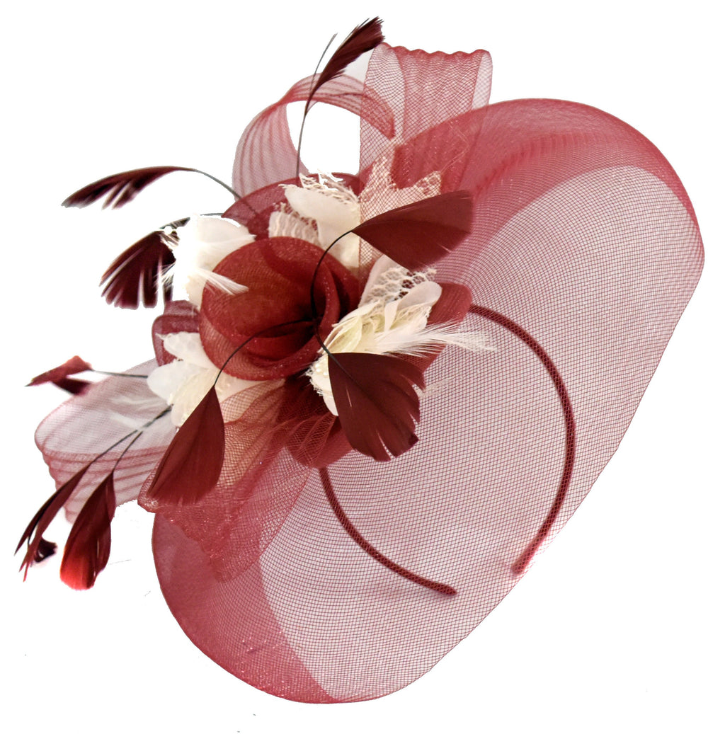 Caprilite Burgundy and Cream Fascinator on Headband Veil UK Wedding Ascot Races Hatinator