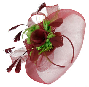Caprilite Burgundy and Green Fascinator on Headband Veil UK Wedding Ascot Races Hatinator
