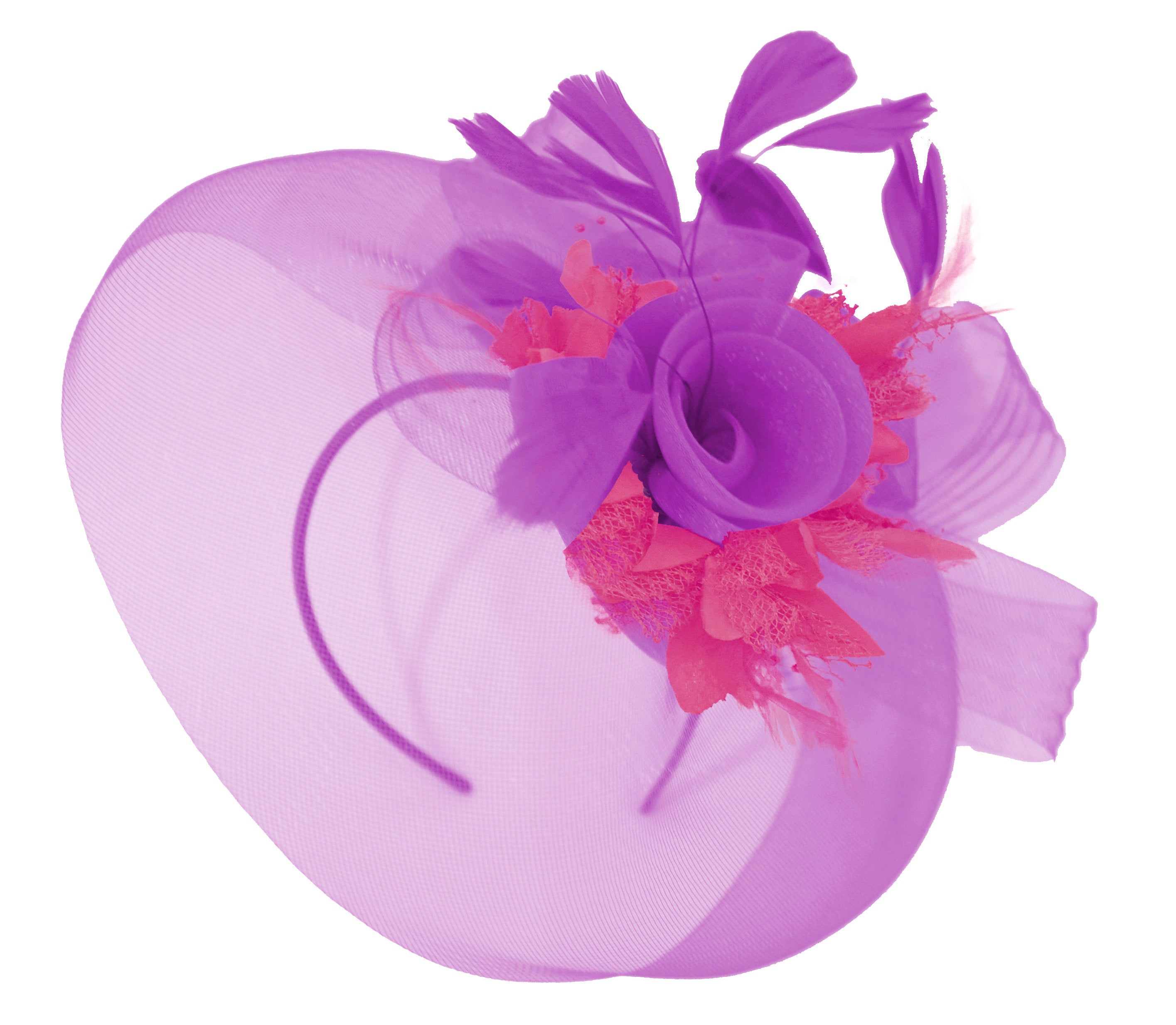 Caprilite Purple and Fuchsia Fascinator on Headband Veil UK Wedding Ascot Races Hatinator