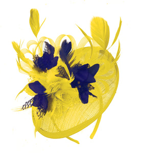 Caprilite Yellow and Navy Blue Sinamay Disc Saucer Fascinator Hat for Women Weddings Headband