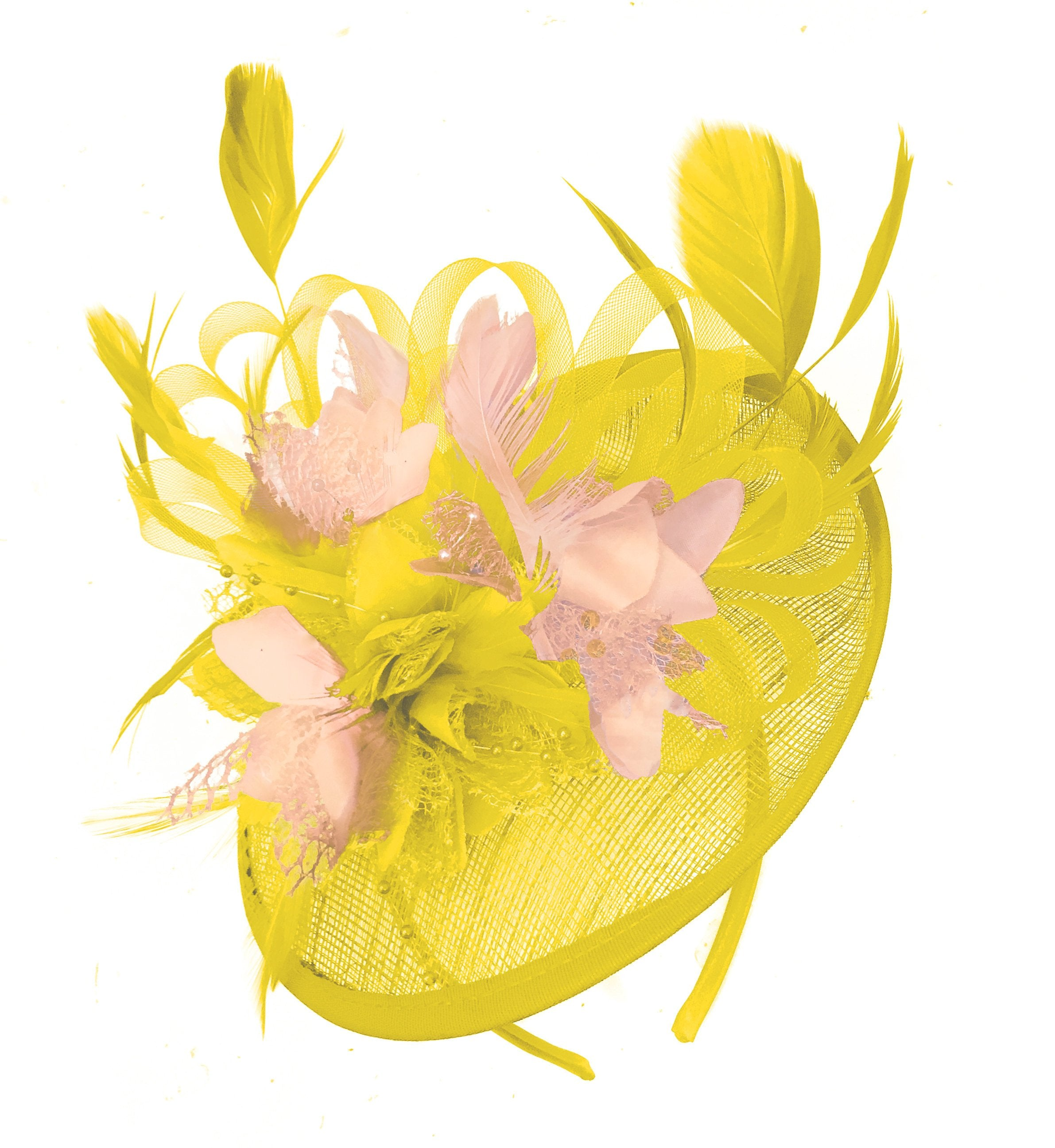 Caprilite Yellow and Nude Pink Sinamay Disc Saucer Fascinator Hat for Women Weddings Headband