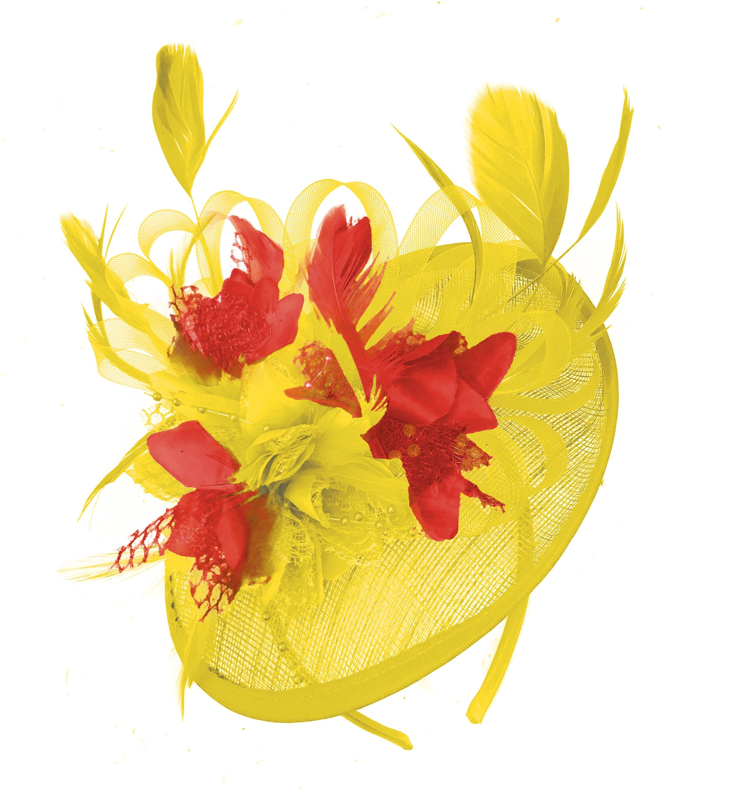 Caprilite Yellow and Red Sinamay Disc Saucer Fascinator Hat for Women Weddings Headband