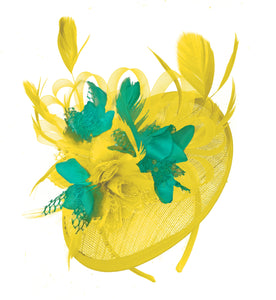 Caprilite Yellow and Teal Sinamay Disc Saucer Fascinator Hat for Women Weddings Headband
