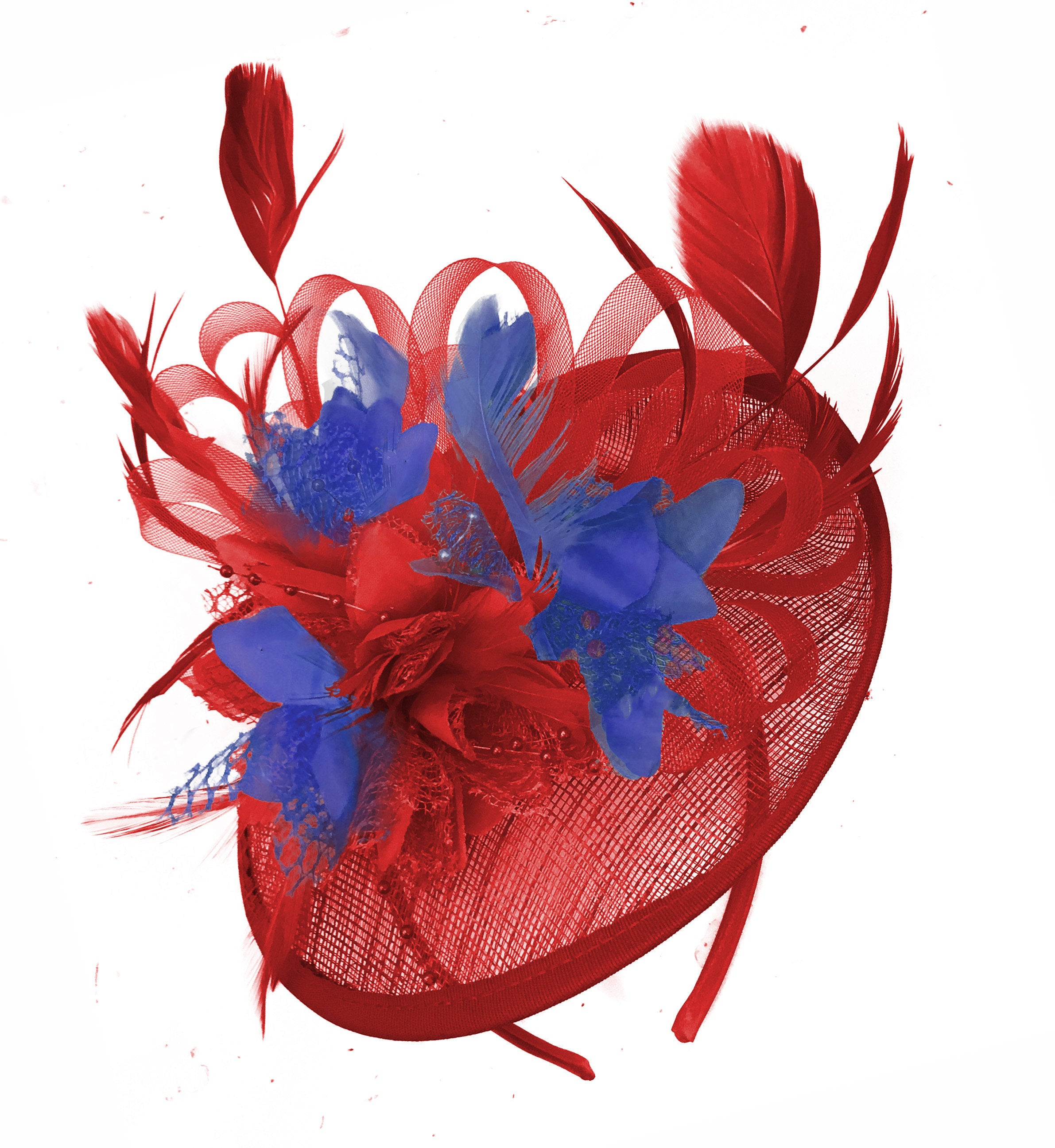 Caprilite Red and Royal Blue Sinamay Disc Saucer Fascinator Hat for Women Weddings Headband