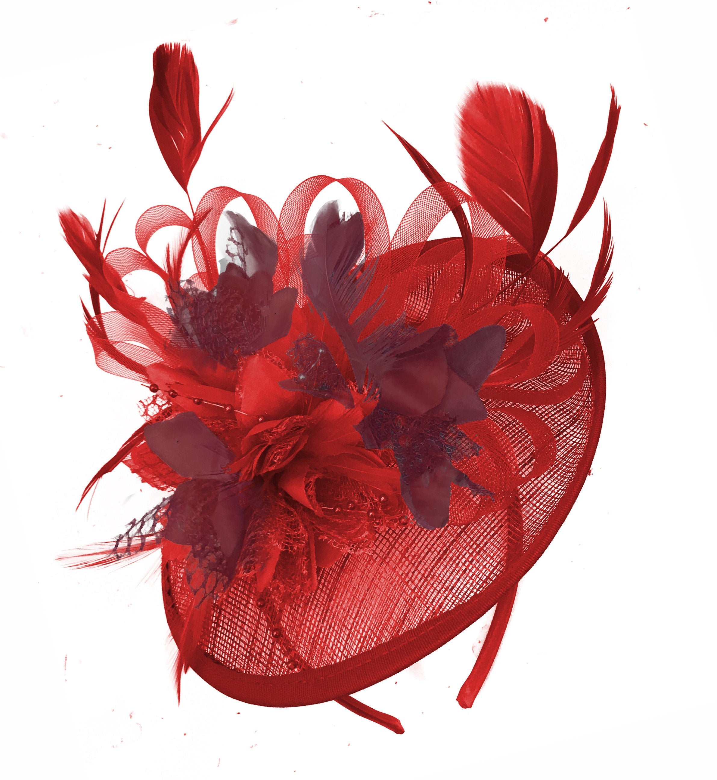Caprilite Red and Burgundy Sinamay Disc Saucer Fascinator Hat for Women Weddings Headband