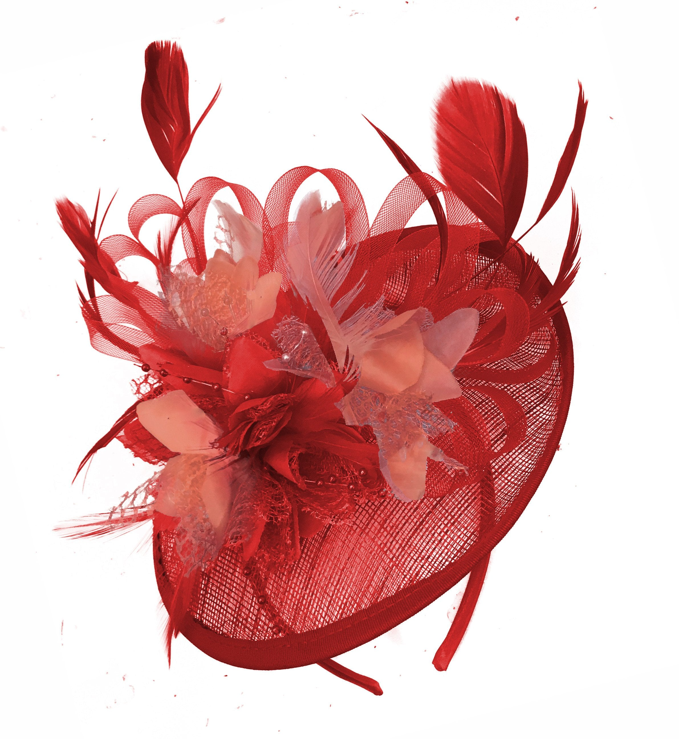 Caprilite Red and Coral Sinamay Disc Saucer Fascinator Hat for Women Weddings Headband