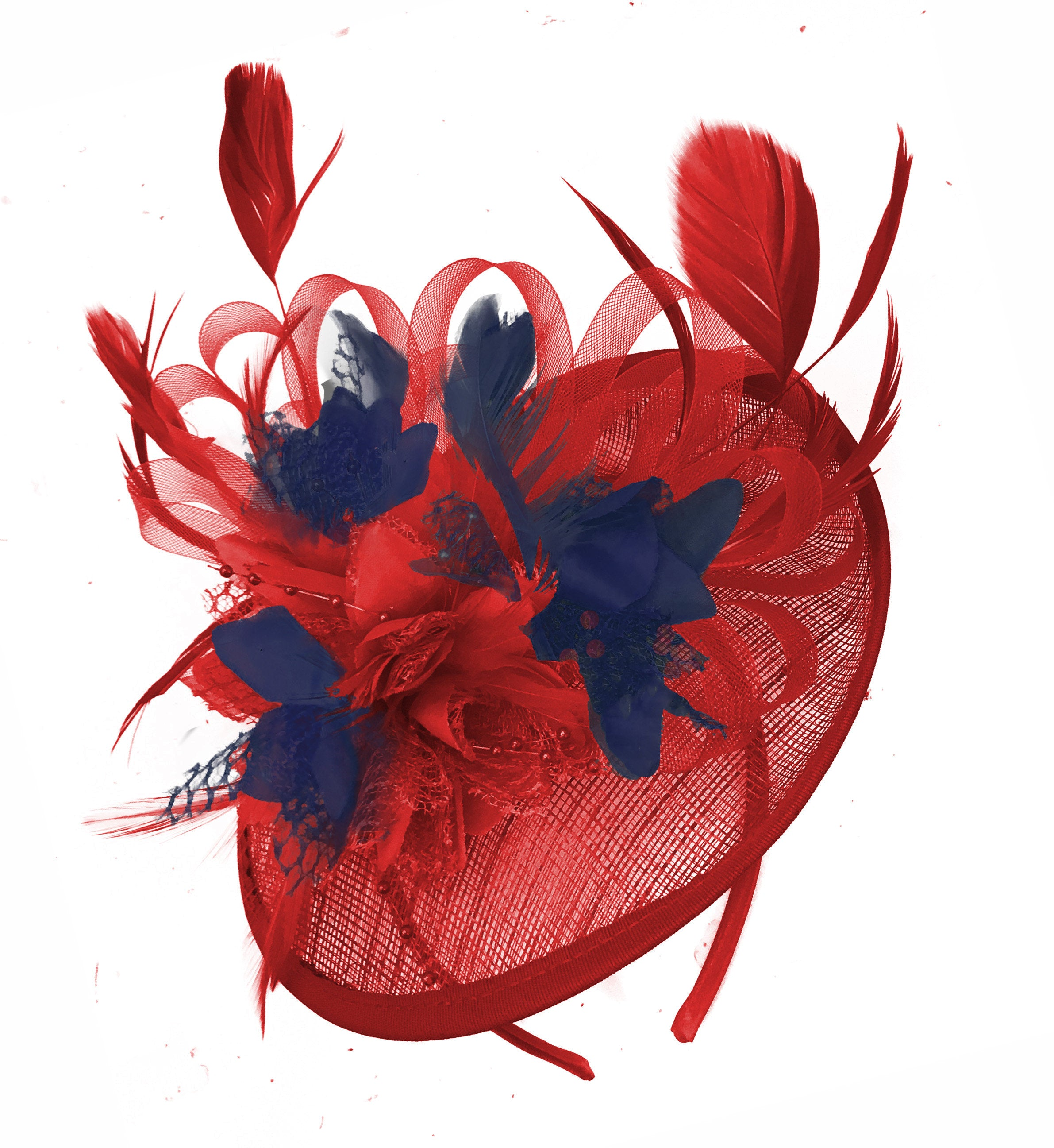 Caprilite Red and Navy Sinamay Disc Saucer Fascinator Hat for Women Weddings Headband