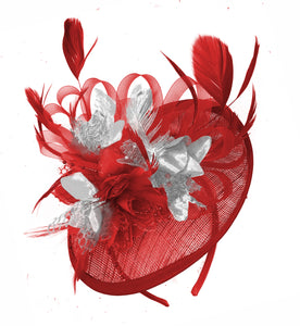 Caprilite Red and Silver Sinamay Disc Saucer Fascinator Hat for Women Weddings Headband