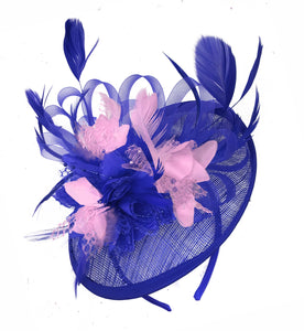 Caprilite Blue and Baby Pink Sinamay Disc Saucer Fascinator Hat for Women Weddings Headband