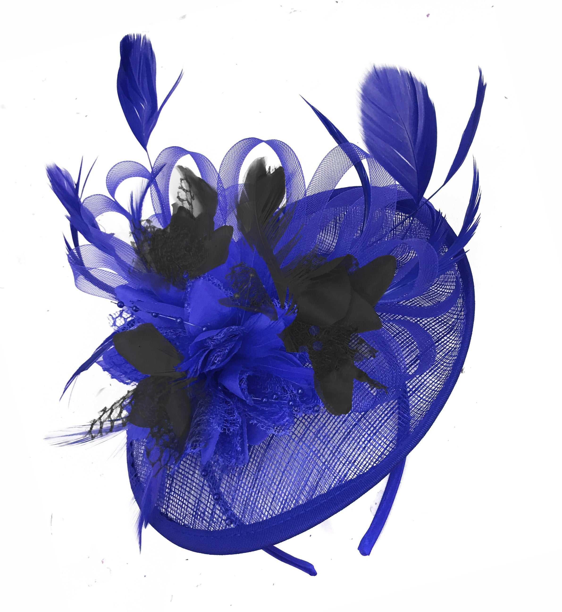 Caprilite Blue and Black Sinamay Disc Saucer Fascinator Hat for Women Weddings Headband