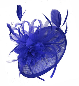 Caprilite Blue and Royal Blue Sinamay Disc Saucer Fascinator Hat for Women Weddings Headband