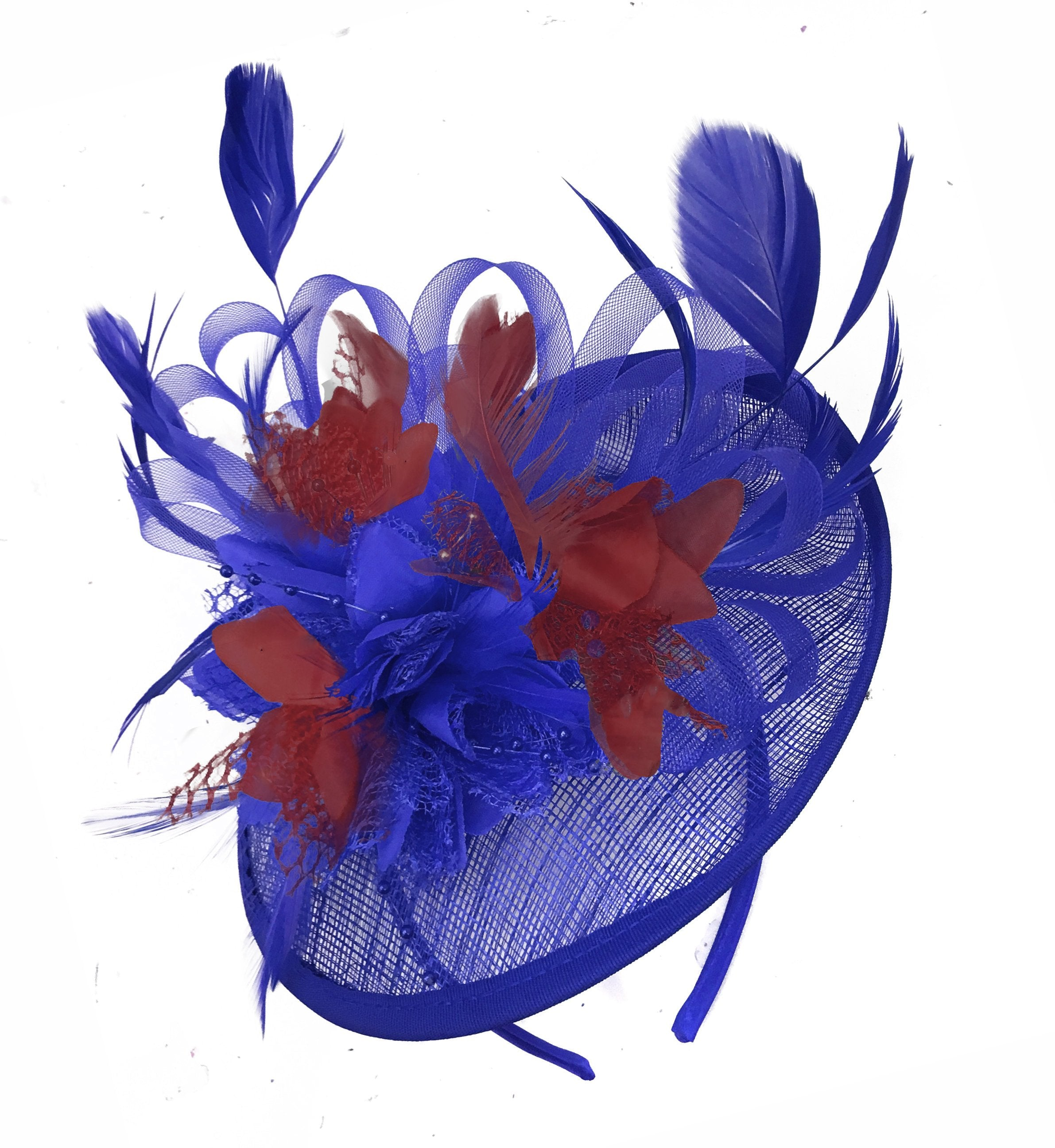 Caprilite Blue and Burgundy Sinamay Disc Saucer Fascinator Hat for Women Weddings Headband