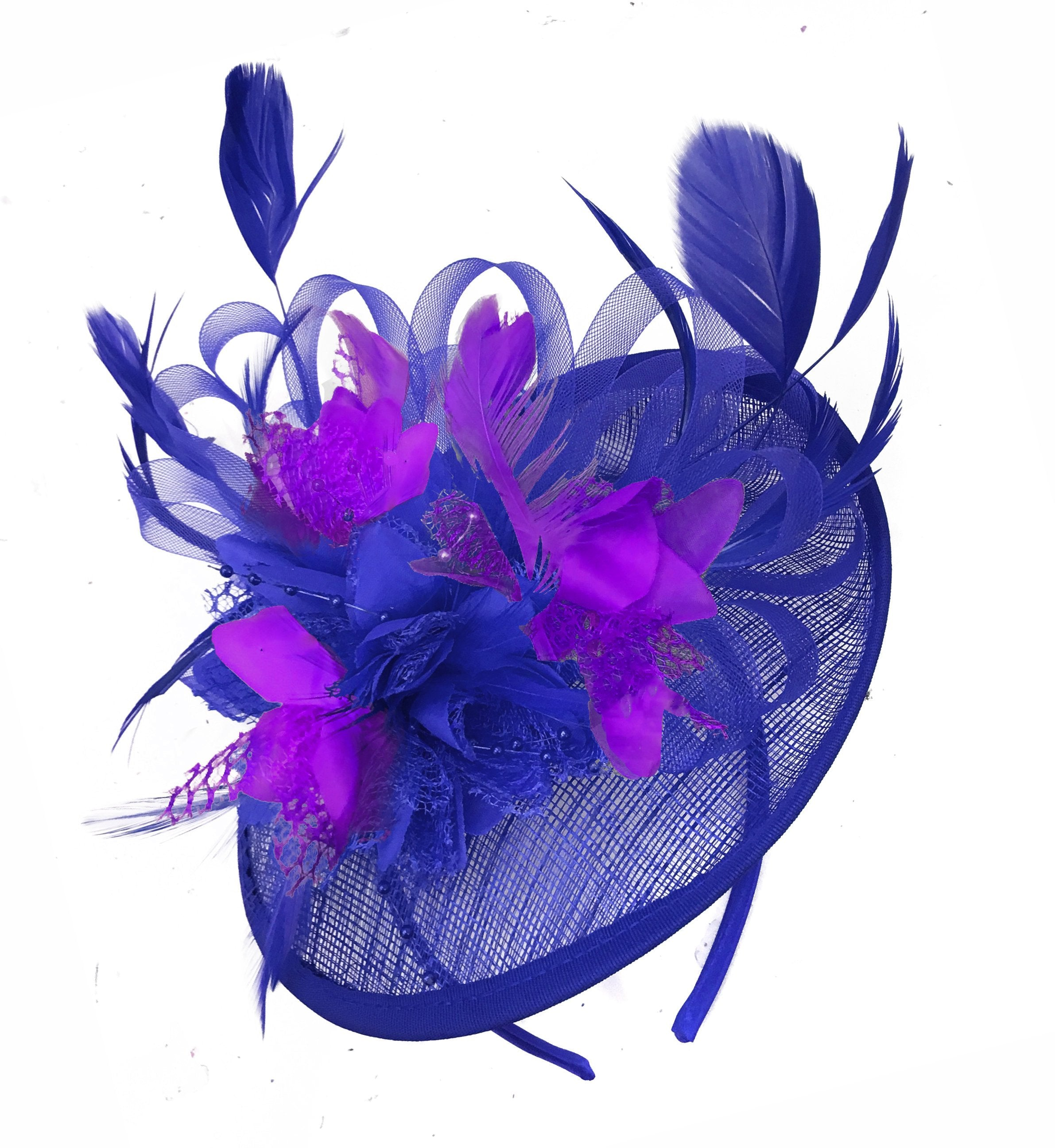 Caprilite Blue and Cadbury Purple Sinamay Disc Saucer Fascinator Hat for Women Weddings Headband