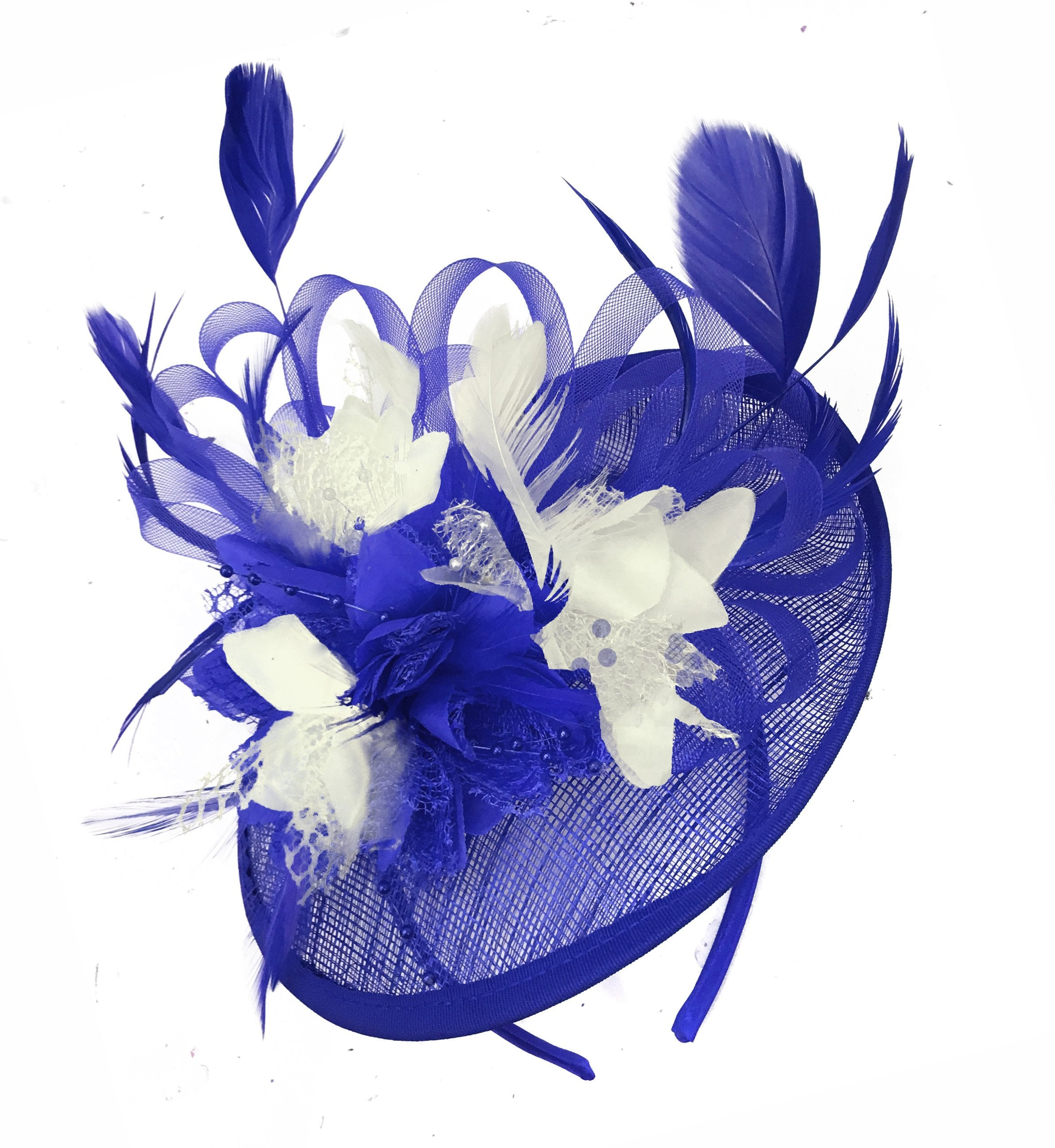 Caprilite Blue and Cream Sinamay Disc Saucer Fascinator Hat for Women Weddings Headband