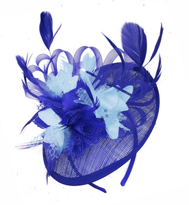 Caprilite Blue and Light Blue Sinamay Disc Saucer Fascinator Hat for Women Weddings Headband