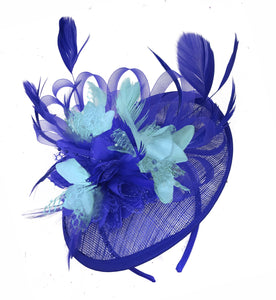 Caprilite Blue and Light Turquoise Sinamay Disc Saucer Fascinator Hat for Women Weddings Headband