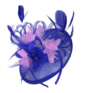 Caprilite Blue and Lilac Sinamay Disc Saucer Fascinator Hat for Women Weddings Headband