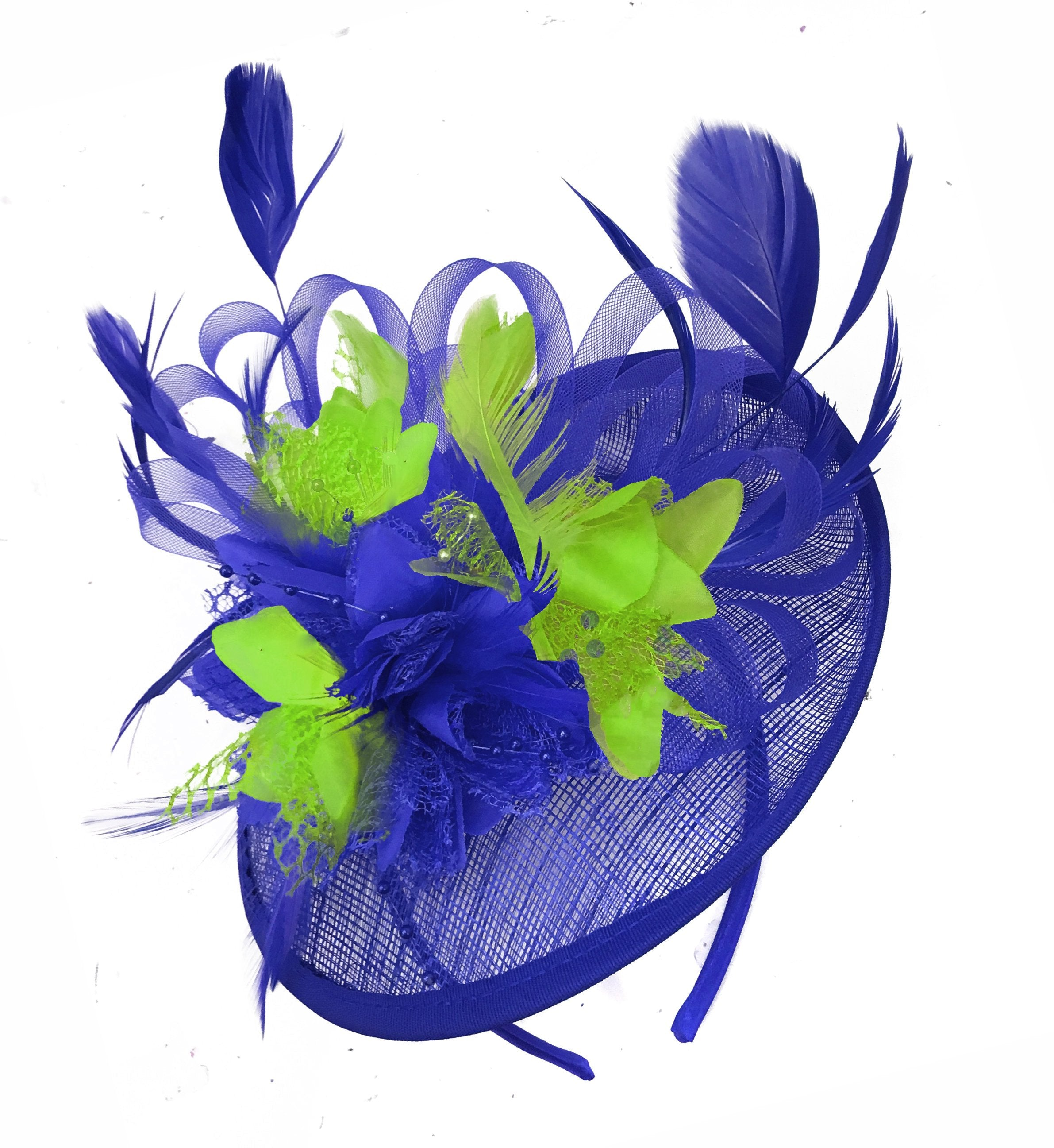 Caprilite Blue and Lime Sinamay Disc Saucer Fascinator Hat for Women Weddings Headband
