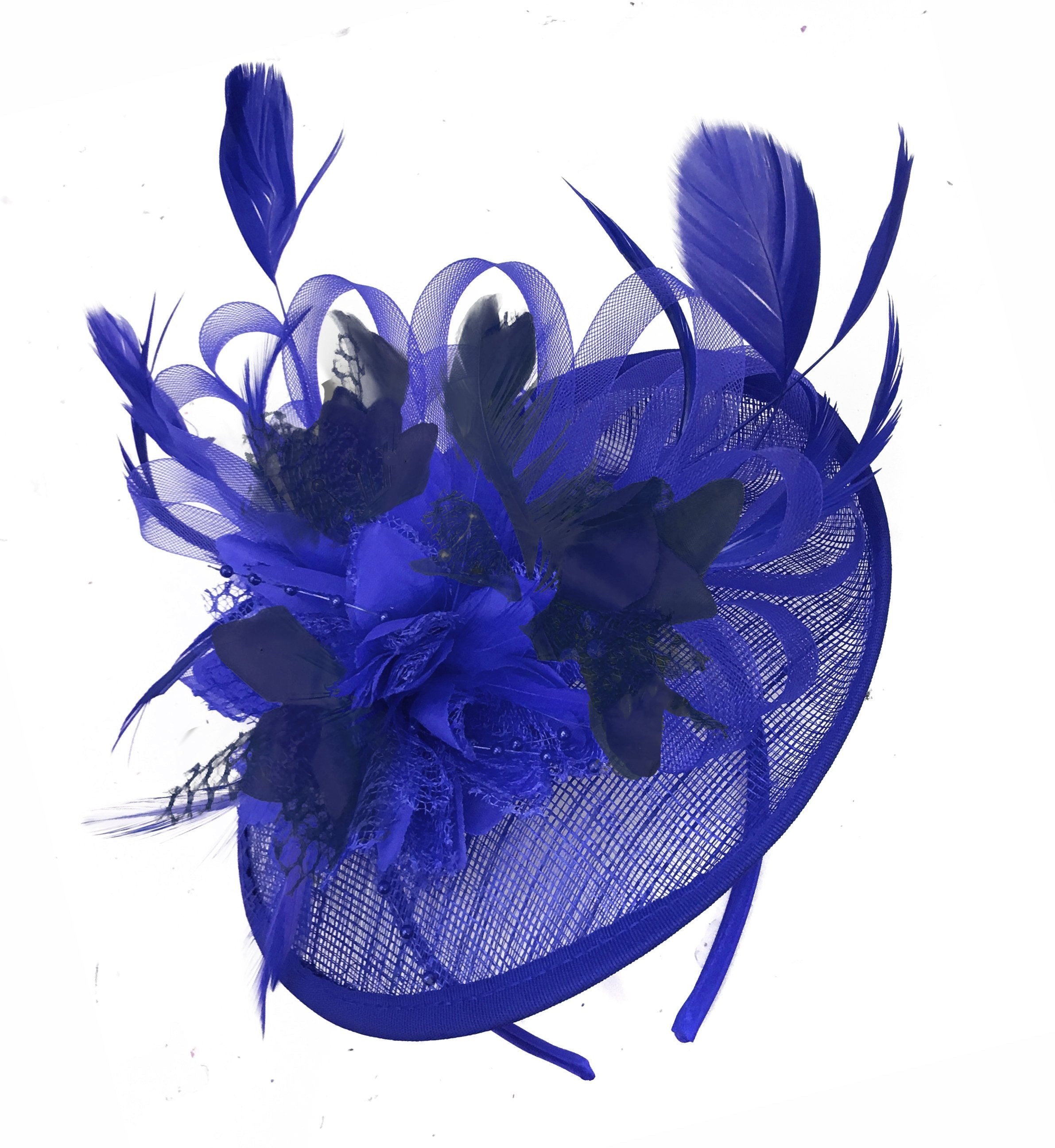 Caprilite Blue and Navy Sinamay Disc Saucer Fascinator Hat for Women Weddings Headband