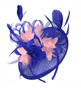 Caprilite Blue and Nude Sinamay Disc Saucer Fascinator Hat for Women Weddings Headband