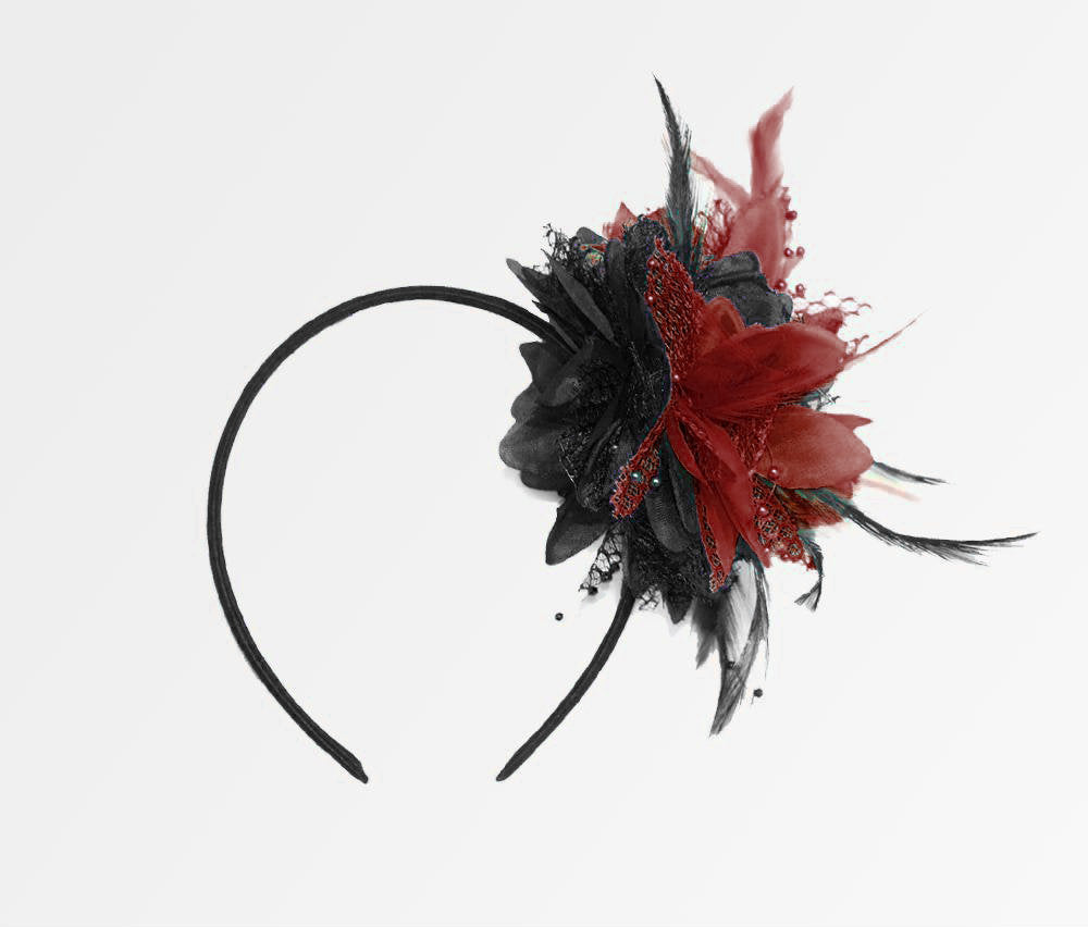 Caprilite Black and Wine Red Burgundy Fascinator Black Headband Clip Comb Flower Corsage