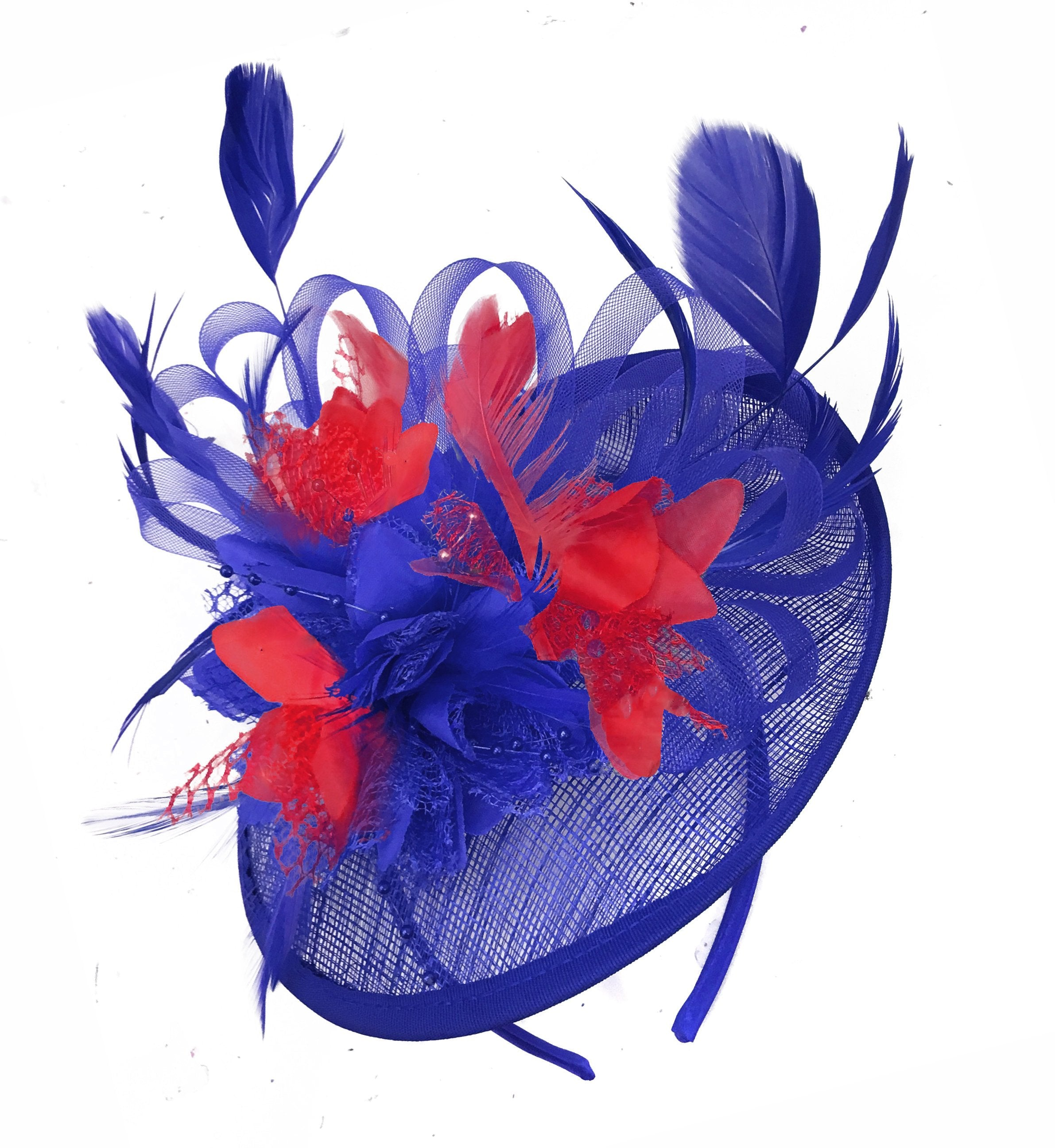 Caprilite Blue and Red Sinamay Disc Saucer Fascinator Hat for Women Weddings Headband