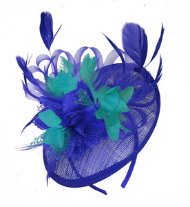 Caprilite Blue and Turquoise Sinamay Disc Saucer Fascinator Hat for Women Weddings Headband