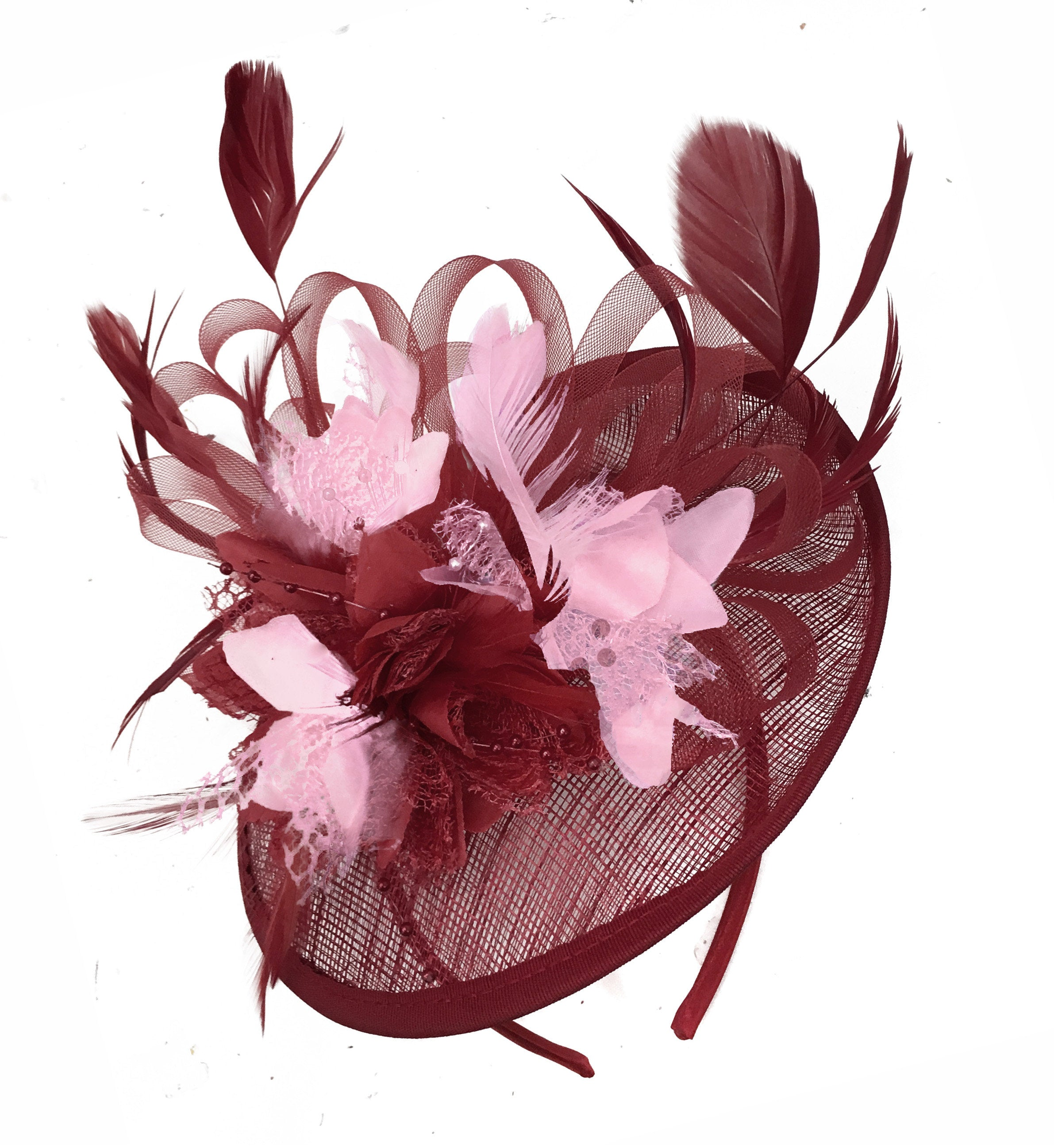 Caprilite Burgundy and Baby Pink Sinamay Disc Saucer Fascinator Hat for Women Weddings Headband