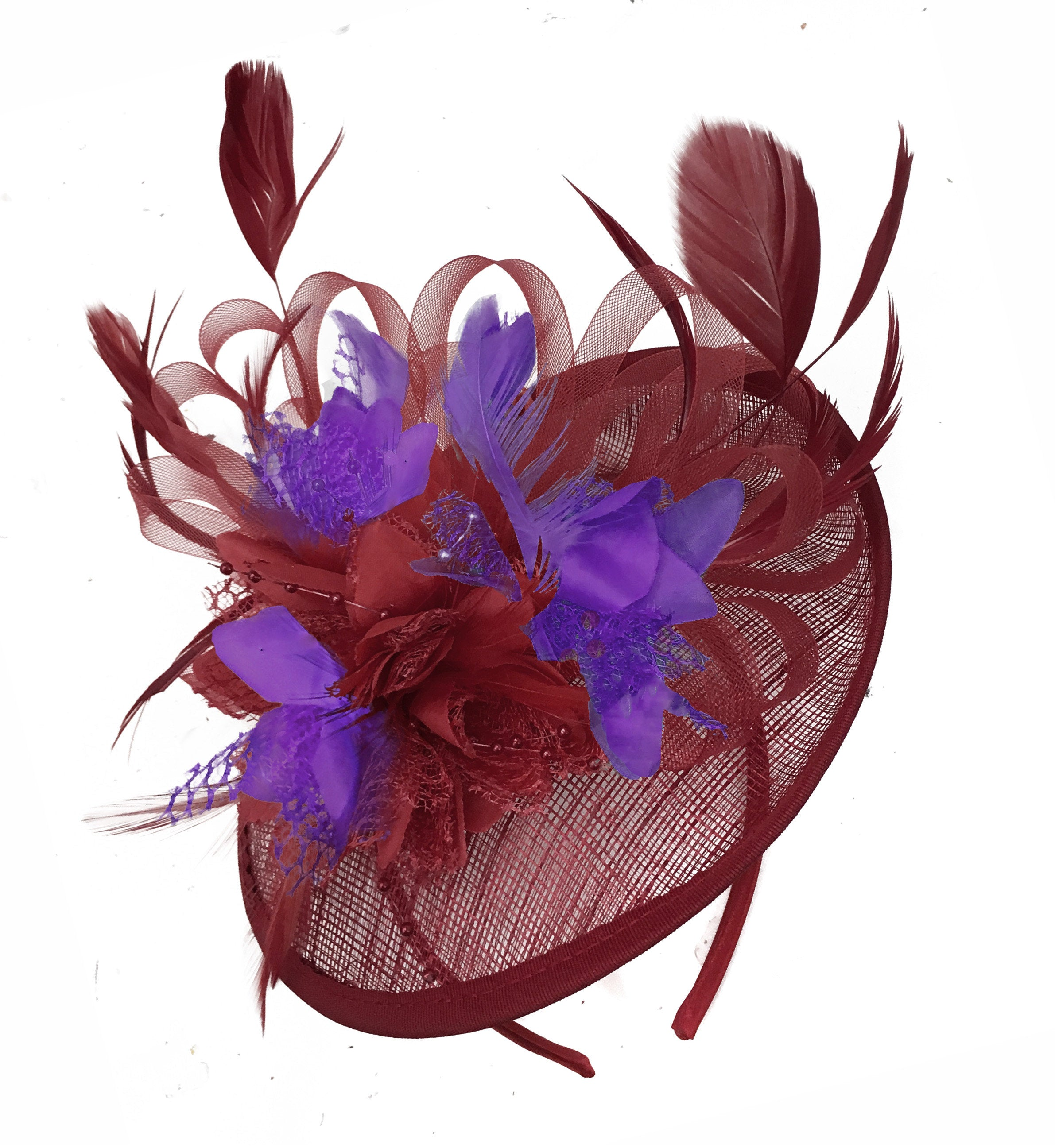 Caprilite Burgundy and Cadbury Purple Sinamay Disc Saucer Fascinator Hat for Women Weddings Headband