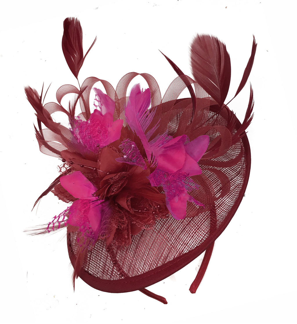 Caprilite Burgundy and Fuchsia Sinamay Disc Saucer Fascinator Hat for Women Weddings Headband