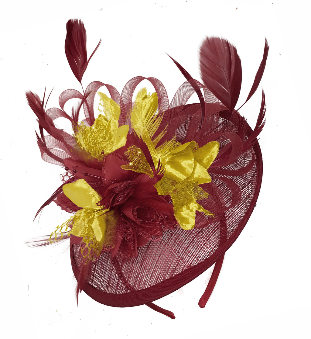 Caprilite Burgundy and Gold Sinamay Disc Saucer Fascinator Hat for Women Weddings Headband