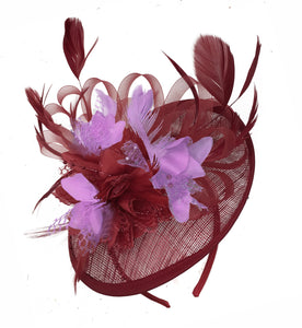 Caprilite Burgundy and Lilac Sinamay Disc Saucer Fascinator Hat for Women Weddings Headband