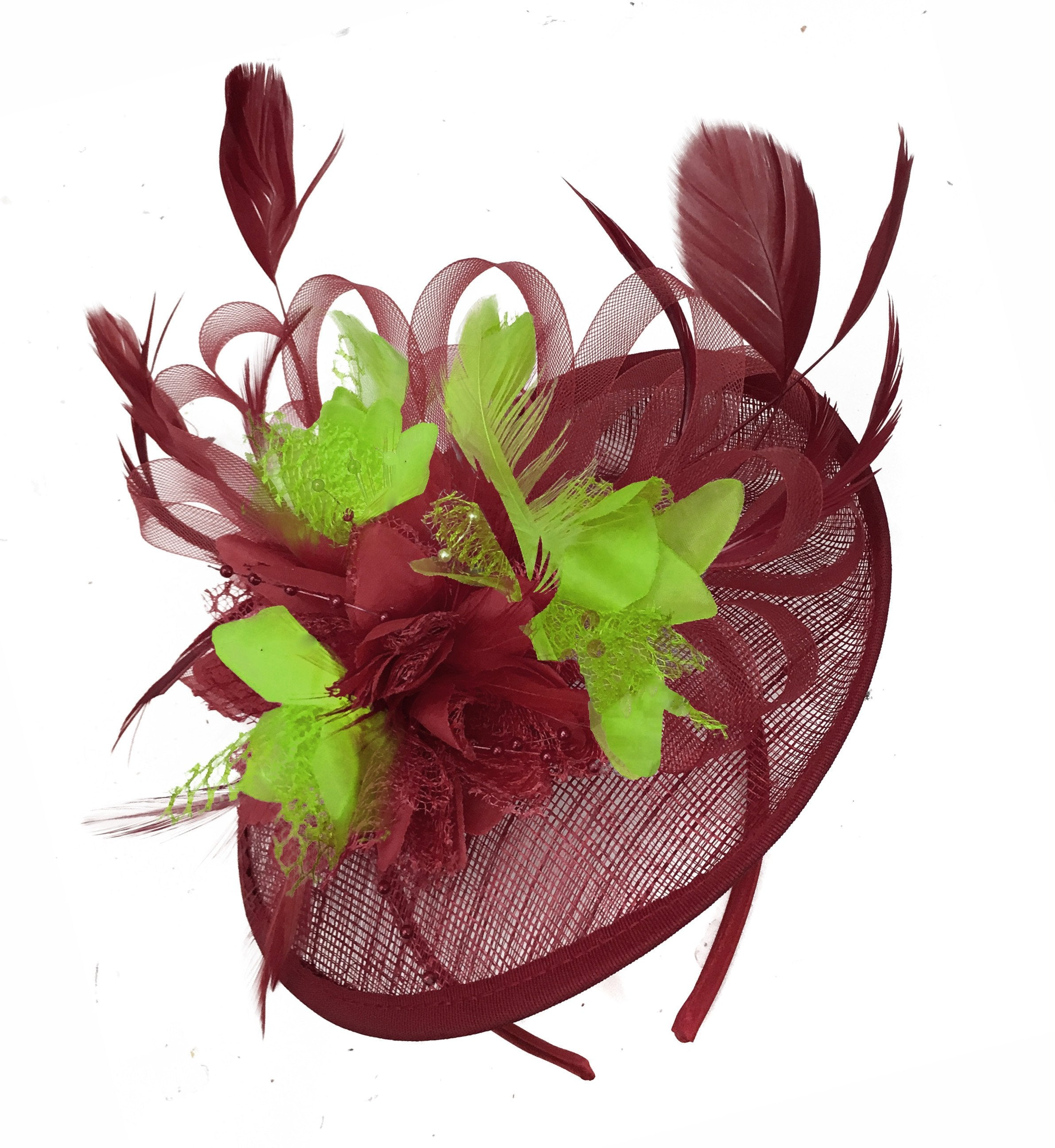 Caprilite Burgundy and Lime Sinamay Disc Saucer Fascinator Hat for Women Weddings Headband