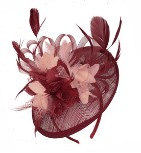 Caprilite Burgundy and Nude Sinamay Disc Saucer Fascinator Hat for Women Weddings Headband