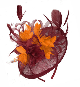 Caprilite Burgundy and Orange Sinamay Disc Saucer Fascinator Hat for Women Weddings Headband