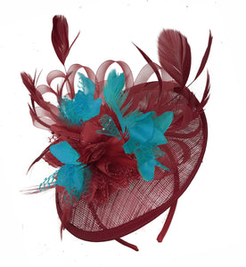 Caprilite Burgundy and Teal Sinamay Disc Saucer Fascinator Hat for Women Weddings Headband