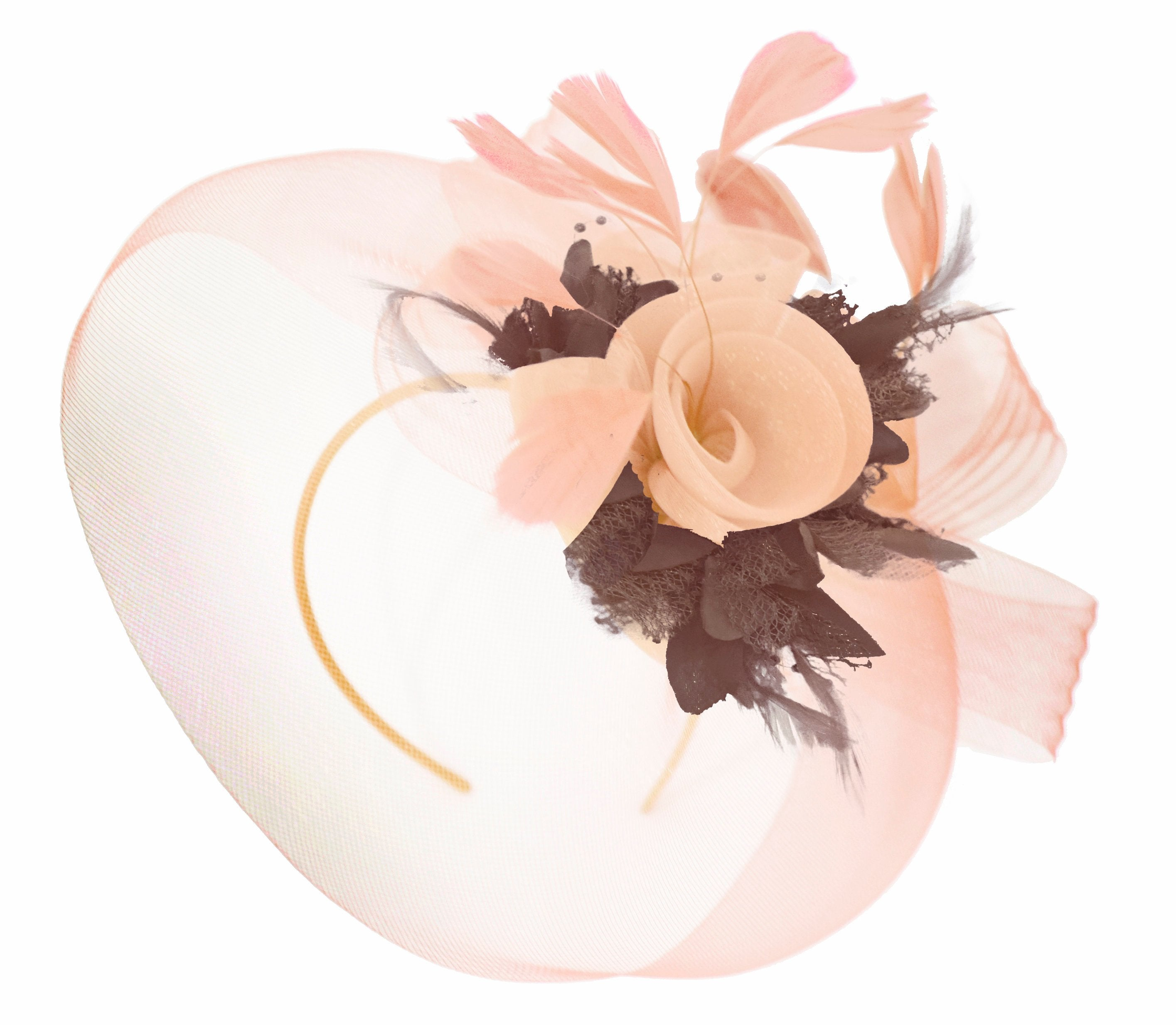 Caprilite Nude Pink Peach and Brown Fascinator Hat Veil Net Hair Clip Ascot Derby Races Wedding Headband Feather Flower