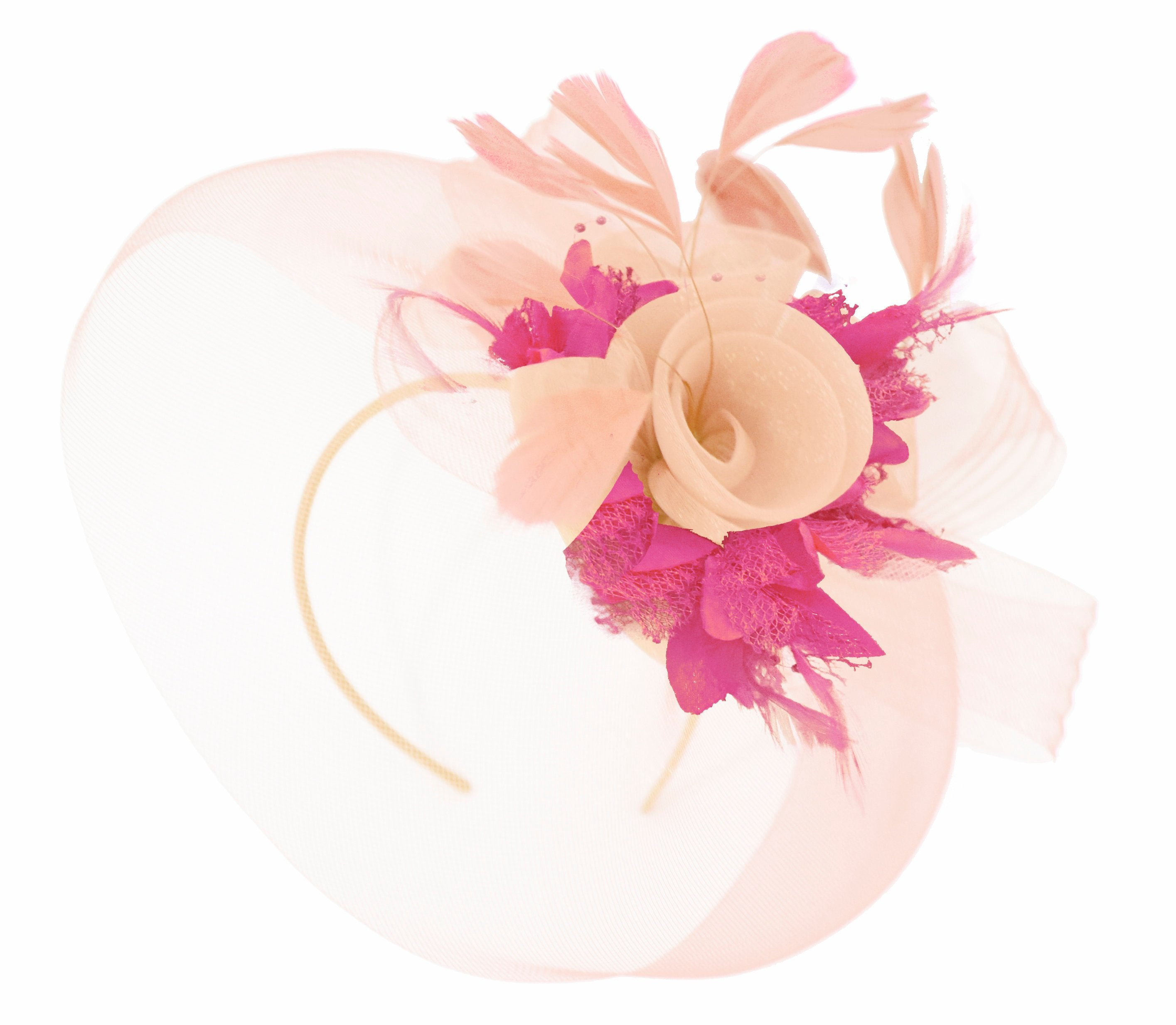 Caprilite Nude Pink Peach and Fuchsia Pink Fascinator Hat Veil Net Hair Clip Ascot Derby Races Wedding Headband Feather Flower