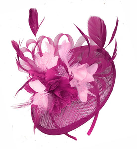 Caprilite Fuchsia Hot Pink and Baby Pink Sinamay Disc Saucer Fascinator Hat for Women Weddings Headband