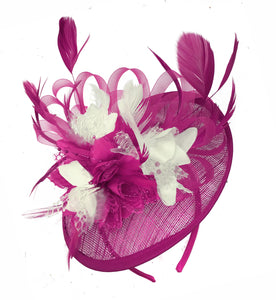Caprilite Fuchsia Hot Pink and Cream Sinamay Disc Saucer Fascinator Hat for Women Weddings Headband