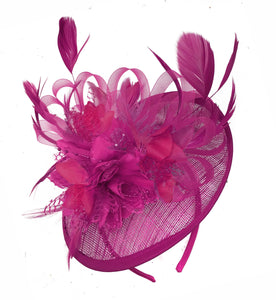 Caprilite Fuchsia Hot Pink and Fuchsia Hot Pink Sinamay Disc Saucer Fascinator Hat for Women Weddings Headband
