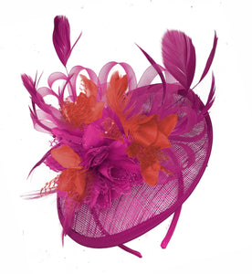Caprilite Fuchsia Hot Pink and Red Sinamay Disc Saucer Fascinator Hat for Women Weddings Headband