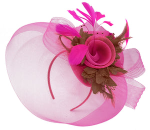 Caprilite Fuchsia Hot Pink and Brown Fascinator Hat Veil Net Hair Clip Ascot Derby Races Wedding Headband Feather Flower