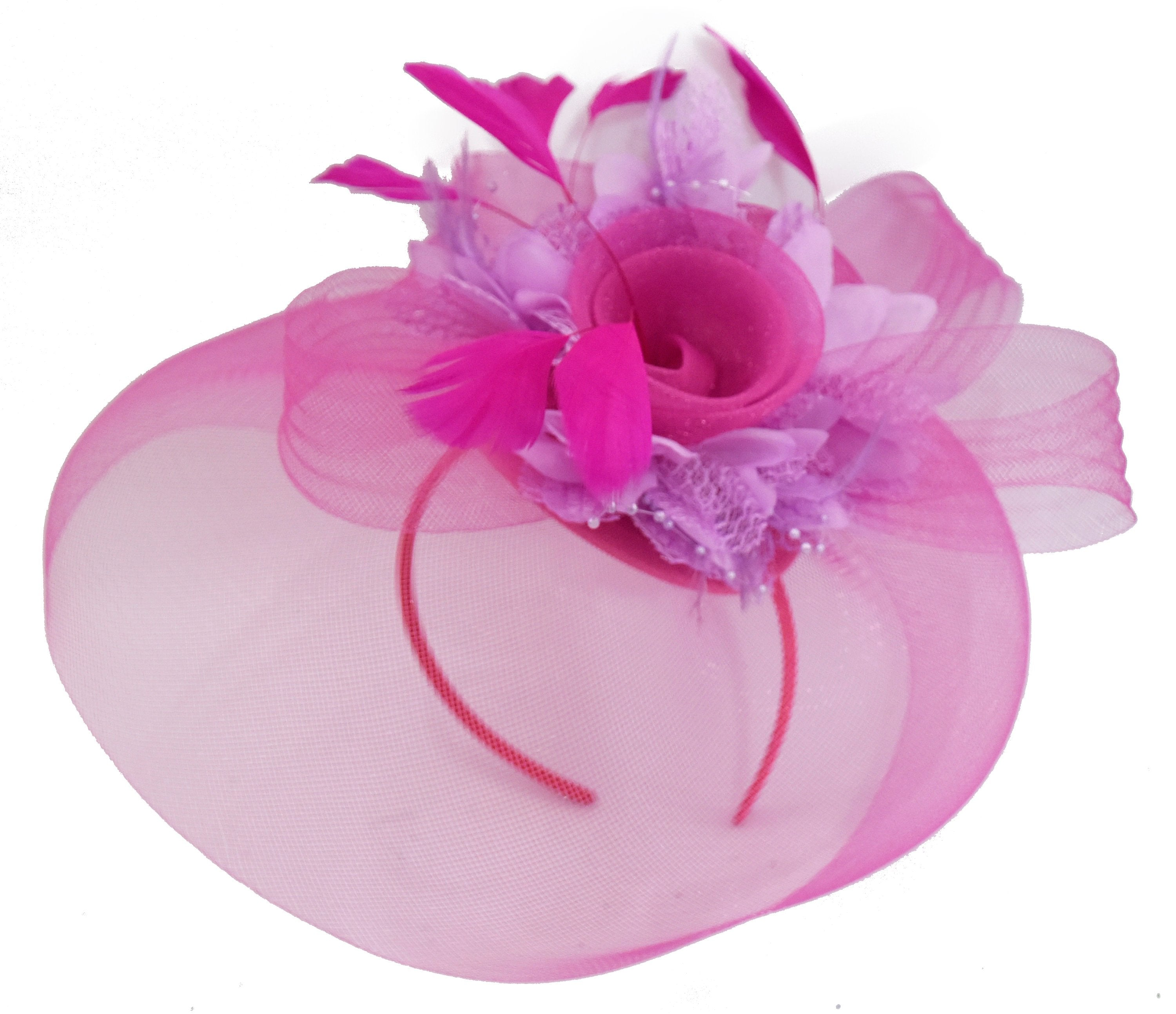Caprilite Fuchsia Hot Pink and Lilac Purple Fascinator Hat Veil Net Hair Clip Ascot Derby Races Wedding Headband Feather Flower