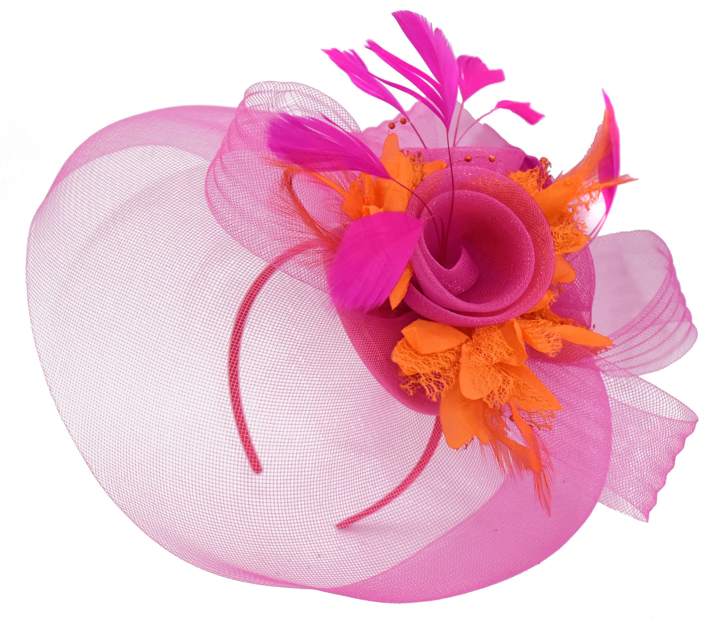 Caprilite Fuchsia Hot Pink and Orange Fascinator Hat Veil Net Hair Clip Ascot Derby Races Wedding Headband Feather Flower