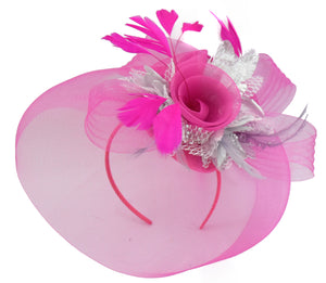 Caprilite Fuchsia Hot Pink and Silver Fascinator Hat Veil Net Hair Clip Ascot Derby Races Wedding Headband Feather Flower