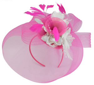 Caprilite Fuchsia Hot Pink and White Fascinator Hat Veil Net Hair Clip Ascot Derby Races Wedding Headband Feather Flower