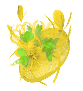 Caprilite Yellow and Lime Green Sinamay Disc Saucer Fascinator Hat for Women Weddings Headband