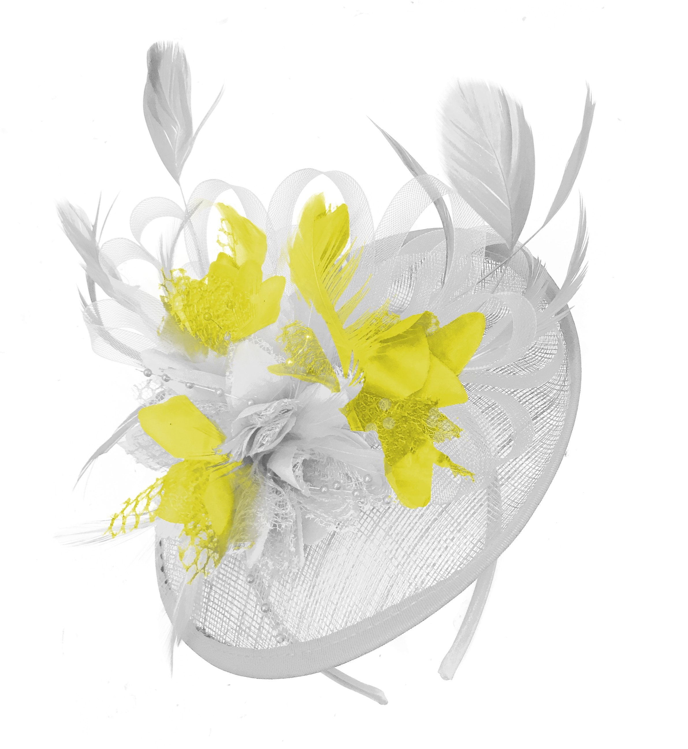 Caprilite White and Yellow Sinamay Disc Saucer Fascinator Hat for Women Weddings Headband