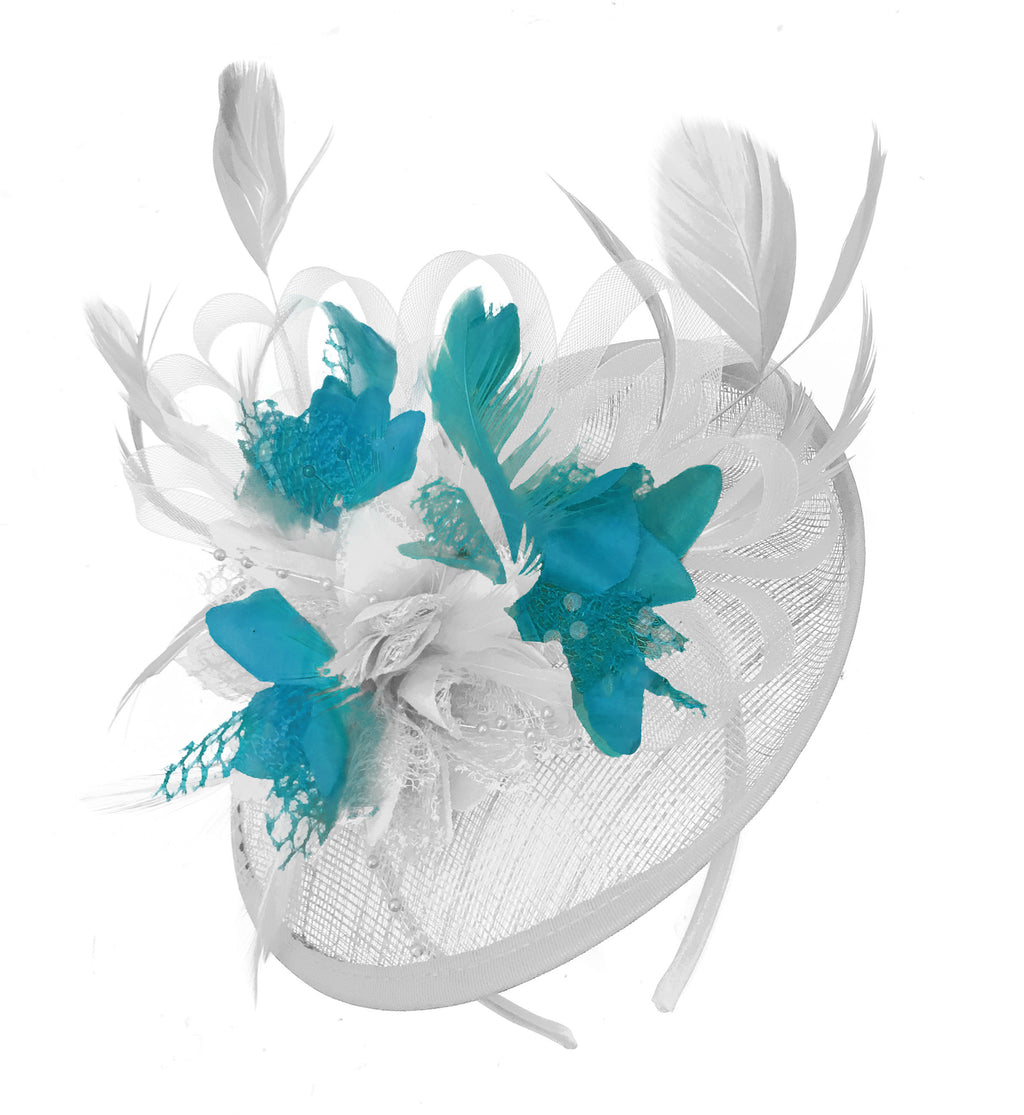Caprilite White and Teal Sinamay Disc Saucer Fascinator Hat for Women Weddings Headband
